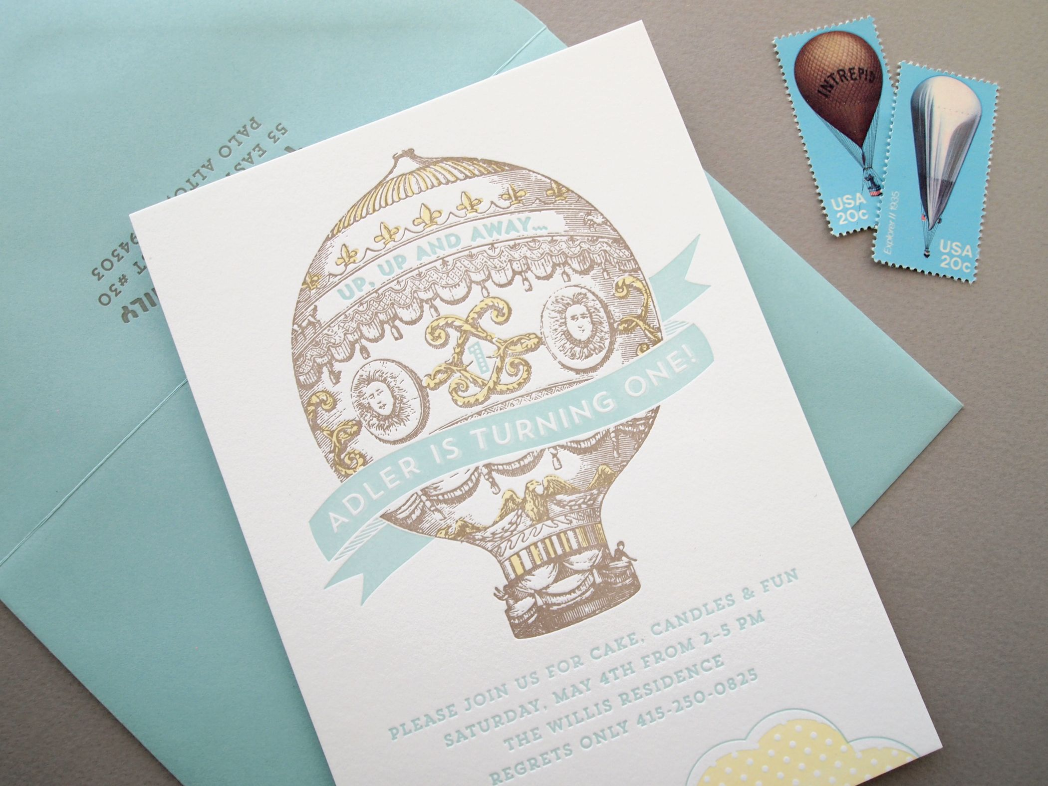 Custom 3 color letterpress 1st birthday invitation