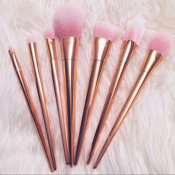 rose gold makeup brushes set. 7 pc. rose gold metallic makeup brush set brand new gorgeous brushes e