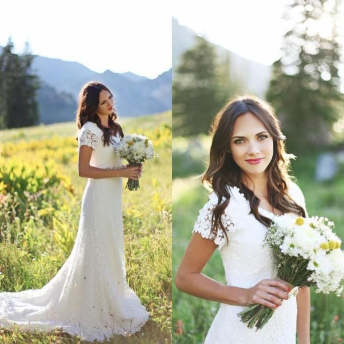 2015 Wedding Dresses Romantic Vintage Lace Sheath V Neck