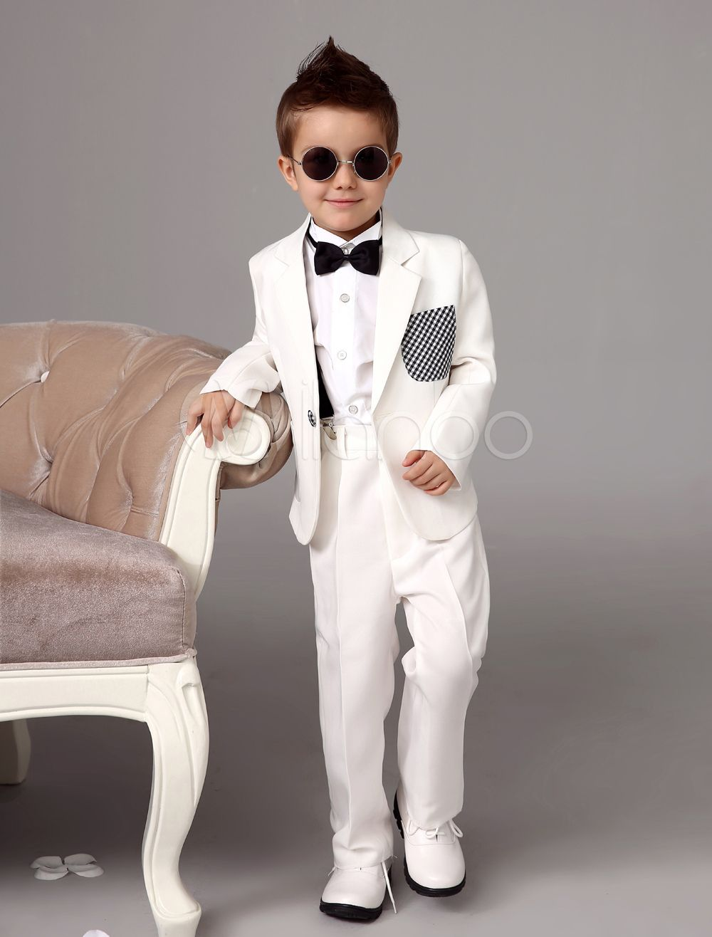 0ec41c3dcb01 White Boy Suit Wedding Tuxedo Jacket Pants Shirts Bow Tie Kids Formal Wear  4 Pcs Ring Bearer Suit Set