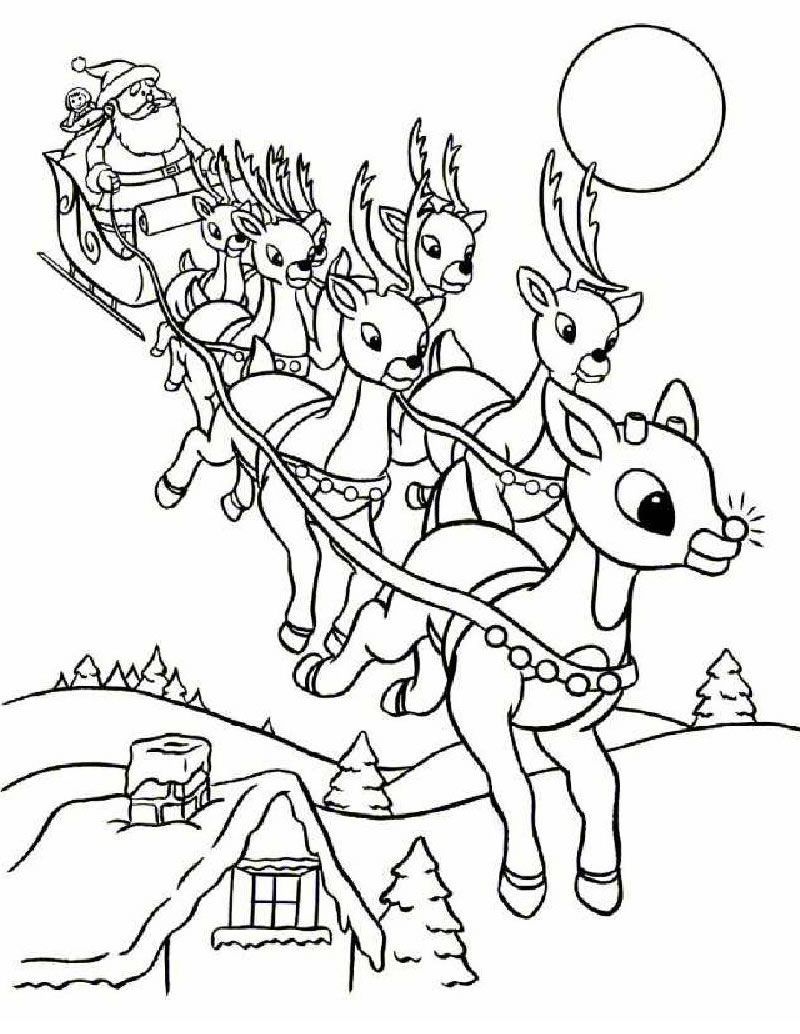 Rudolph and Santa Sleigh coloring page | Christmas | Pinterest ...