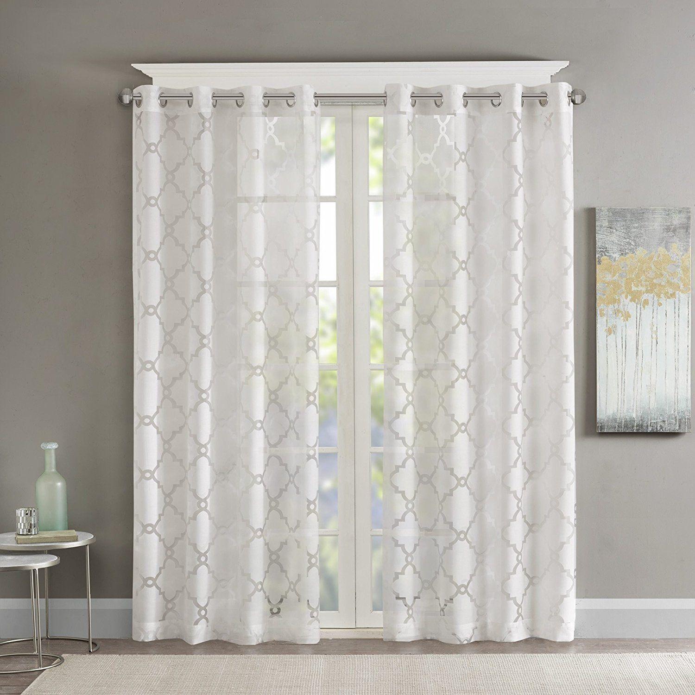 1 Piece Girls Pearl White Sheer Diamond Window Curtain 95 Inch