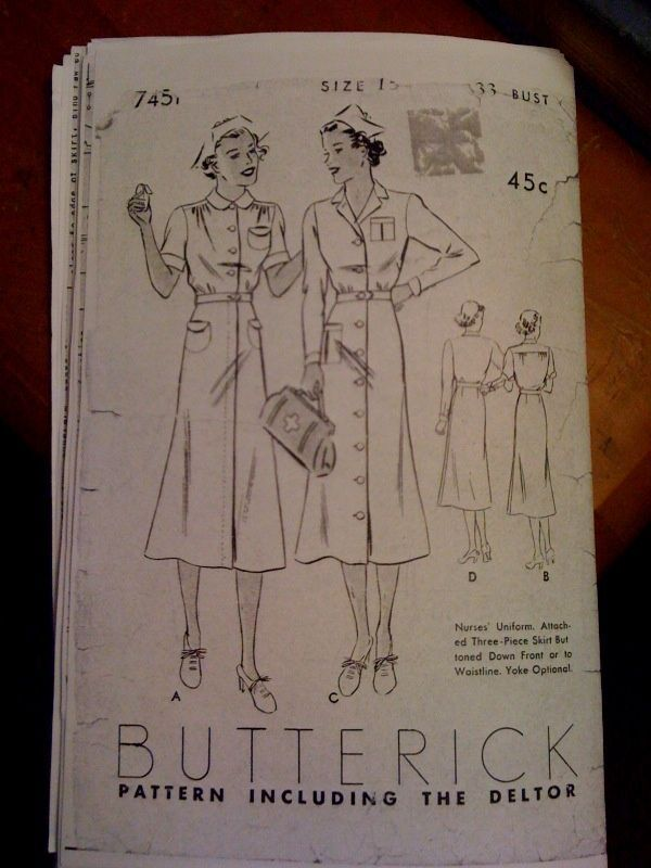 Vintage Nurse Uniform Pattern | Found on snapped-garters.blogspot.com  Love the pockets