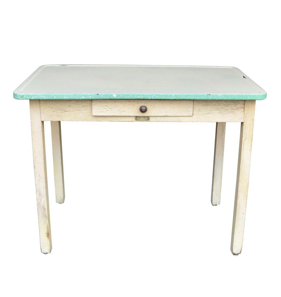 rustic wooden kitchen table w enamel topsellers c1925