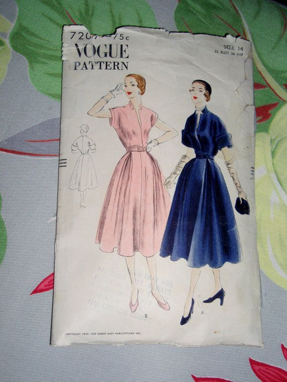 Vintage 1950 Vogue Pattern 7207 Misses Dress Size by lakeviewarts, $18.00