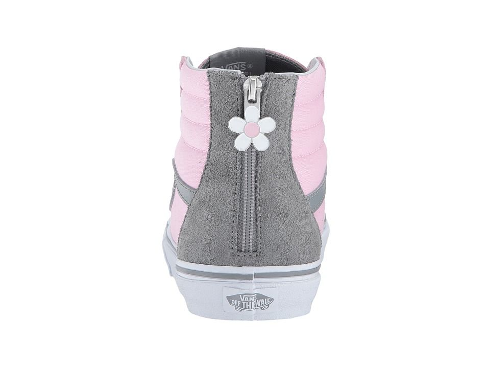 2ecf0b04b6 Vans Kids Sk8-Hi Zip (Little Kid Big Kid) Girls Shoes (Flower Zip) Pink Mist  Monument