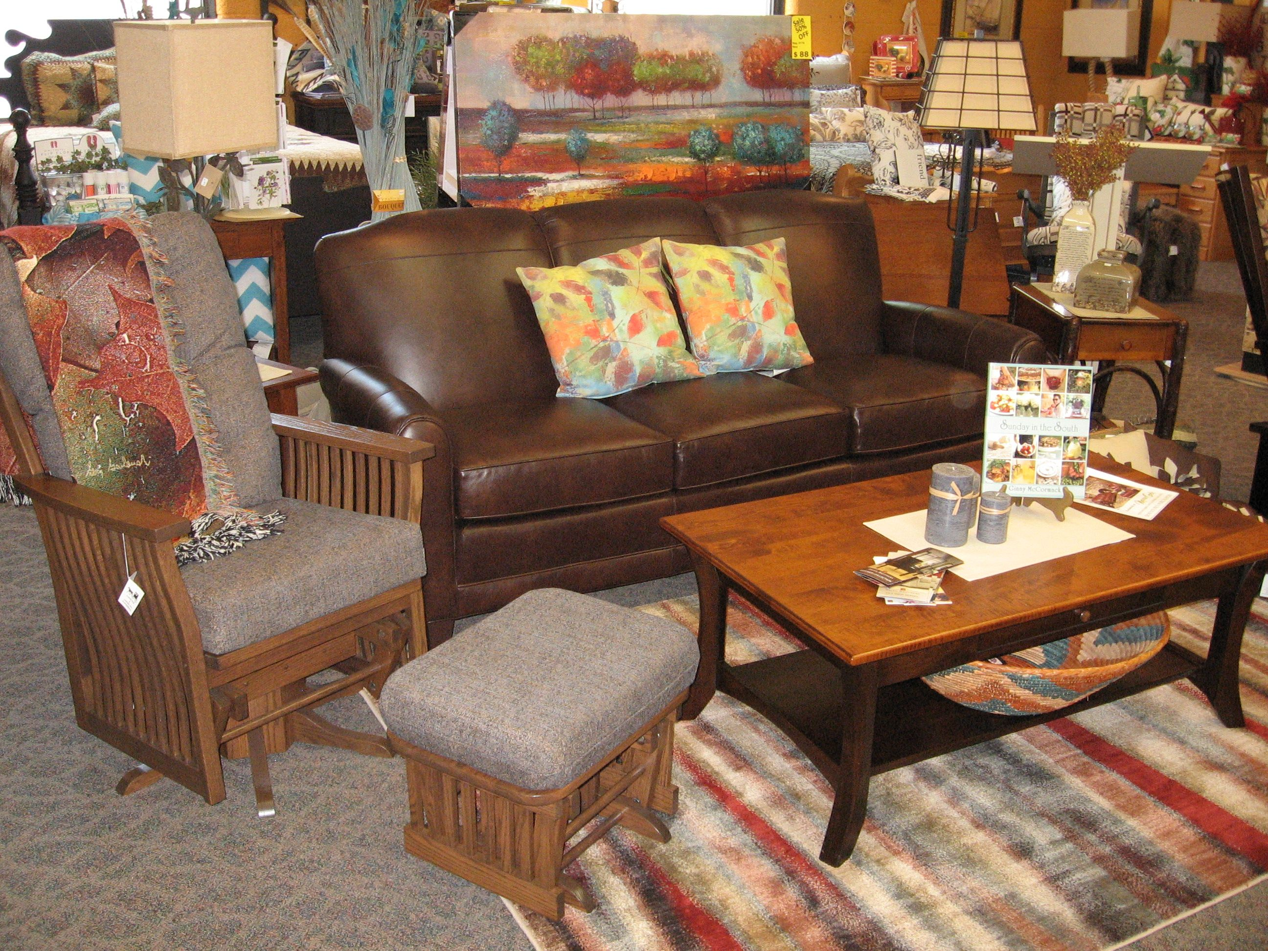 Brown Leather Couch By Smith Brothers And Amish Made Chair. Rustic Table In  The Middle