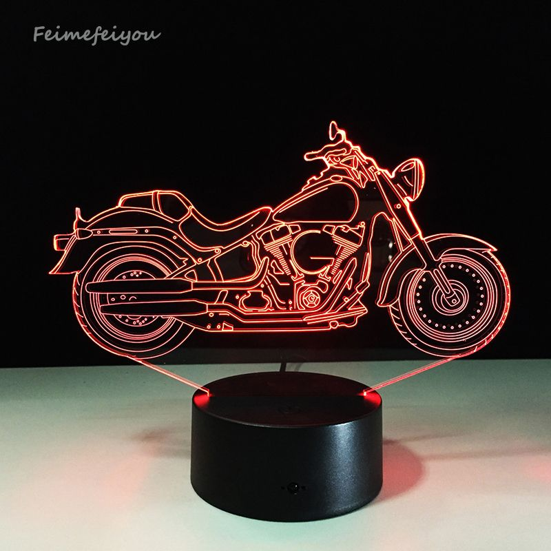 Free Shipping 1piece 3d Design Motorcycle Shape Night Light Home Decoration Color Changing Atmosphere Lamp With Usb Charger Night Light Lamp Color Changing Led