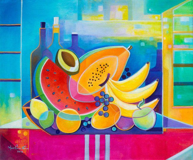Cubist painting abstract original oil wine fruits marlina vera fine art gallery modern artwork - Bodegon manrique ...