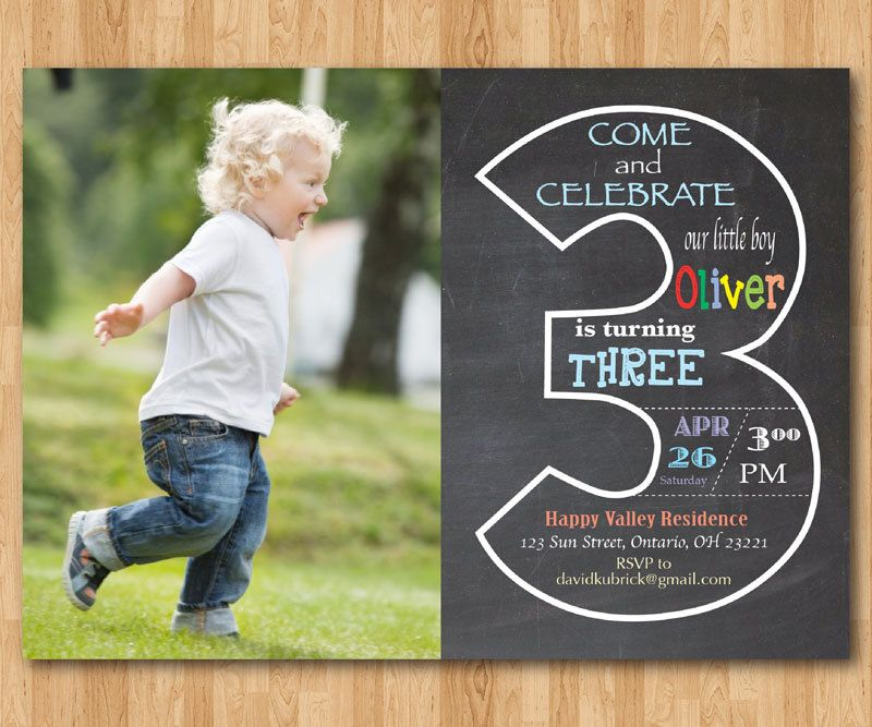 Chalkboard 3rd Birthday Invitation With Picture Third Invite Photo Baby Boy Or Girl Party Printable Digital DIY By Arthomer On