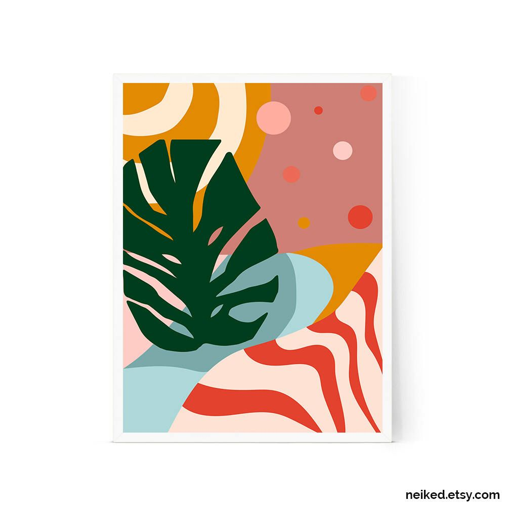 Watercolor Green Plants Monstera Nature Posters And Prints: Pin By Boots2Buttons On Gift Ideas For Everyone