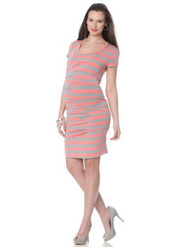 A Pea In The Pod Collection Nicole Miller Short Sleeve Pleated Maternity Dress