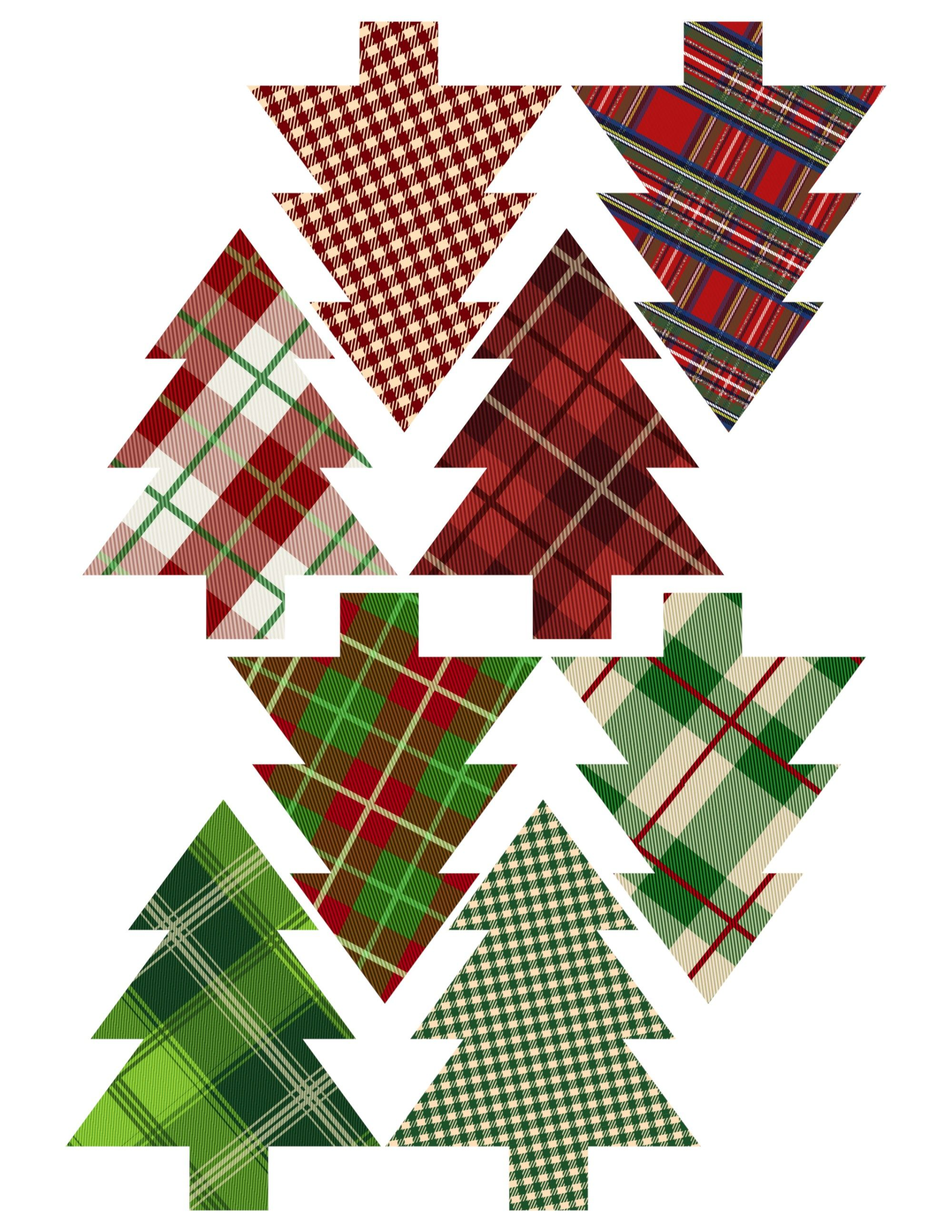Plaid Christmas Tree Ornaments Printable Easy Ornament Craft DIY Set Of Trees
