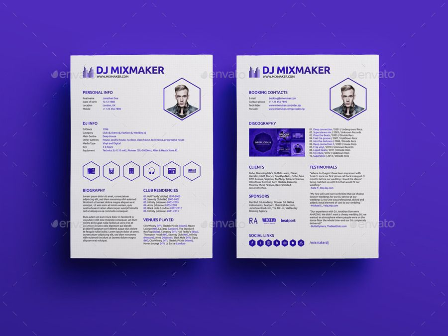 Mixmaker Dj Resume Press Kit Psd Template Psd Templates Best Resume Template Press Kit