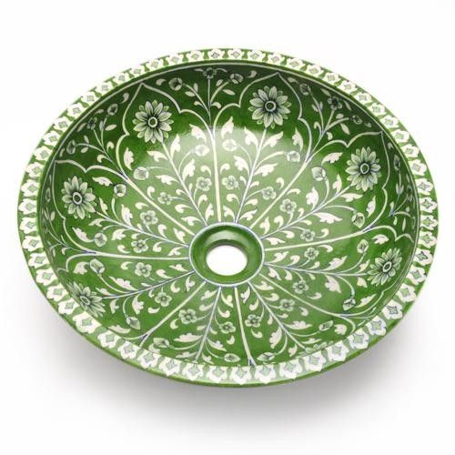Green And White Color Design Wash Basin Pottery In 2019 Blue Pottery Jaipur Blue Pottery Decorative Bowls