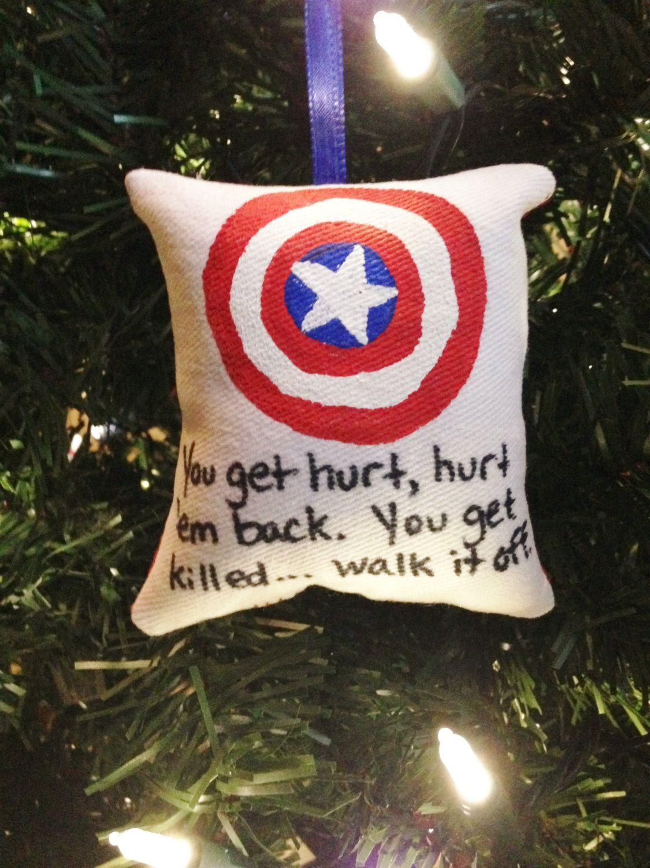 Captain America Quot Walk It Off Quot Pillow Christmas Tree Ornament Marvel Avenger Christmas Tree Ornaments Christmas Pillow Christmas Decorations Ornaments