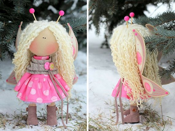 Bee doll handmade Fabric doll Tilda doll pink blonde color Art doll Cloth doll…