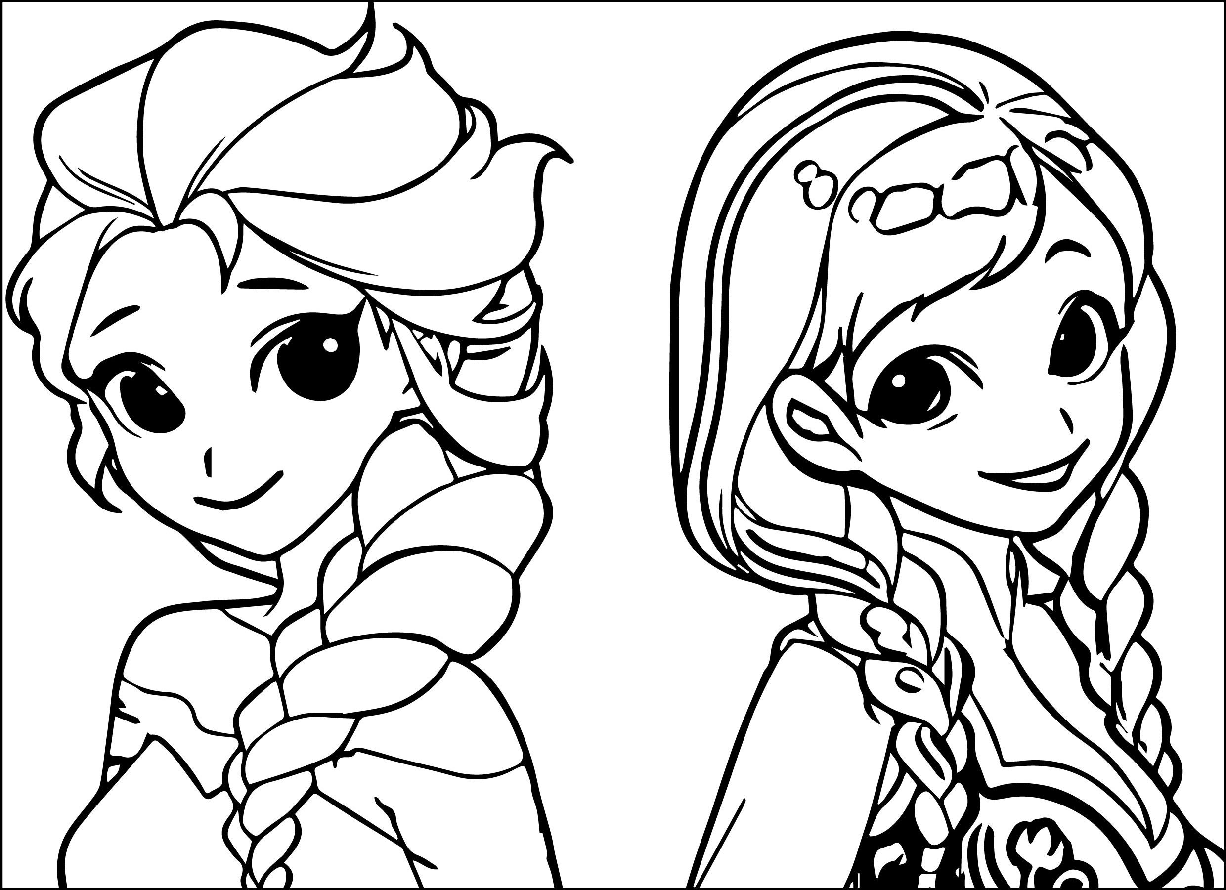 Elsa Anna Cartoon Coloring Page 01 Diy And Crafts Pinterest