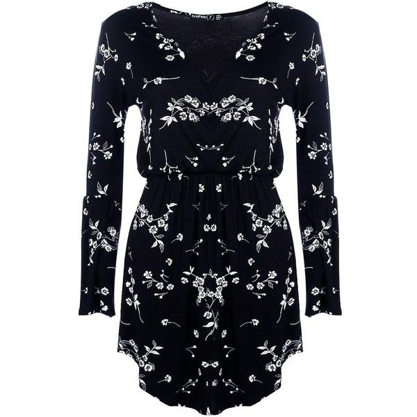 a42bf570781bd Boohoo Petite Bethany Floral Wrap Skater Dress   Boohoo (880 DOP) ❤ liked on