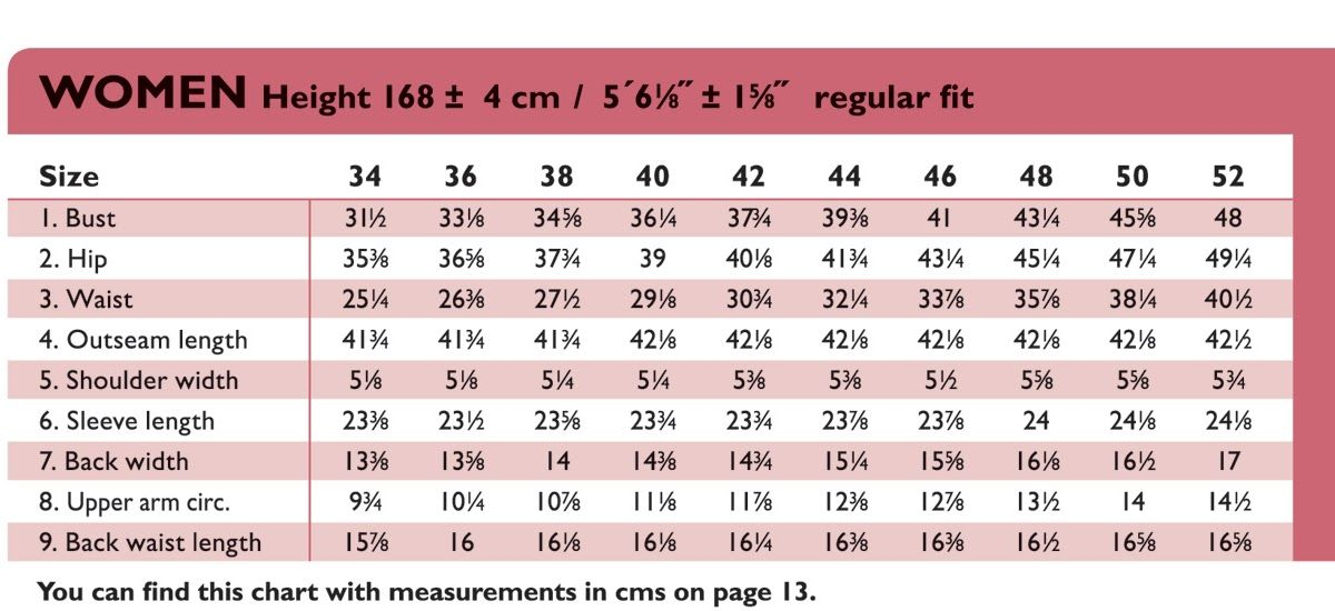 Women S Size Chart In Inches Womens Size Chart Size Chart Womens Sizes