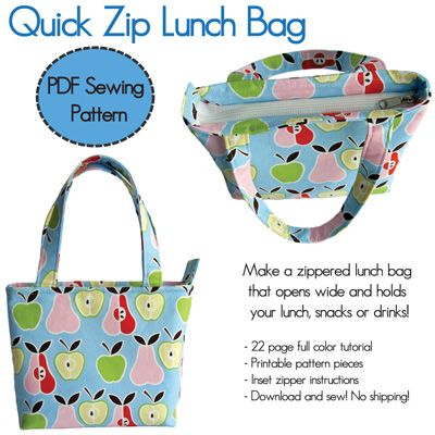 Quick Zip Lunch Bag PDF $10 Sewing Pattern - Also tips on sewing ...