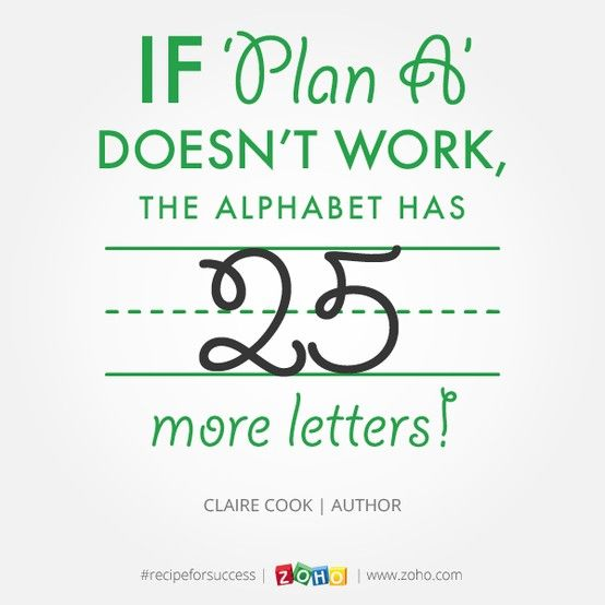 If Plan A DoesnT Work The Alphabet Has  More Letters