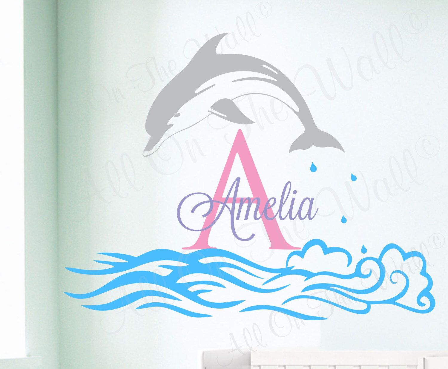 Dolphin wall decal girl name decals ocean theme decor nursery dolphin wall decal baby girl name baby boy name decals nursery decals ocean theme nautical decor amipublicfo Image collections