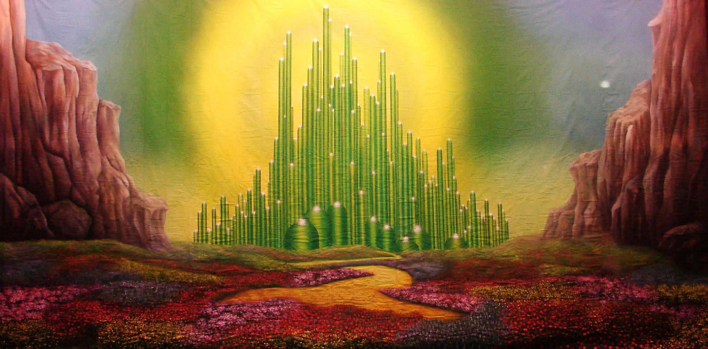 Wizard Of Oz Emerald City Poppy Fields Backdrop Image