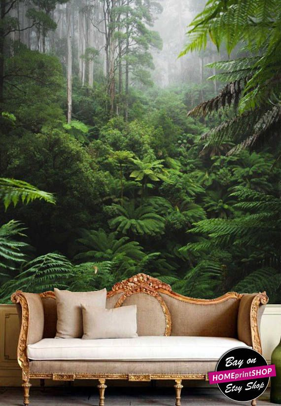Rain Forest With Morning Foggy Tropical Jungle Wallpaper Wall Art Decor Removable Self Adhesive Peel And Stick Forest Decor Jungle Wallpaper Wall Wallpaper