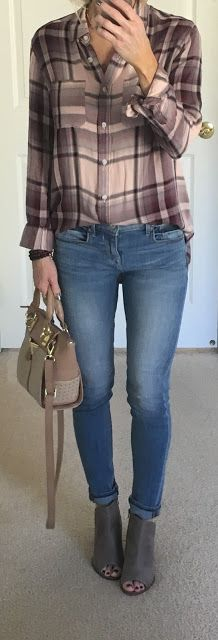 Blush Plaid Shirt Outfit + Leather Earrings | On the Daily EXPRESS