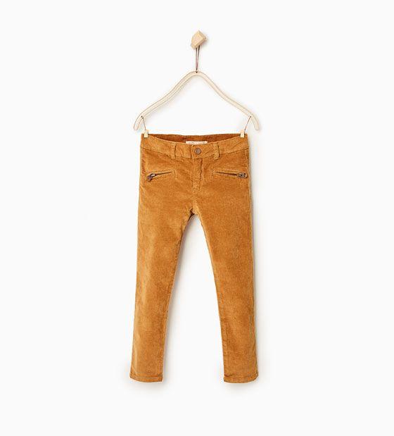 Bukse i velur med glidelåser - Tilgjengelig i flere farger