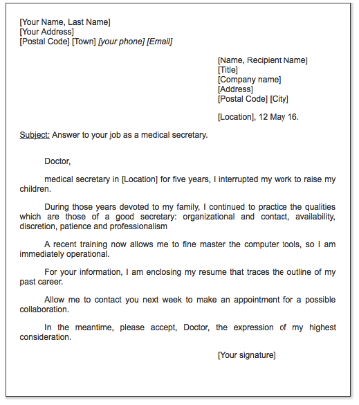 Medical Secretary Cover Letter  HttpExampleresumecvOrg