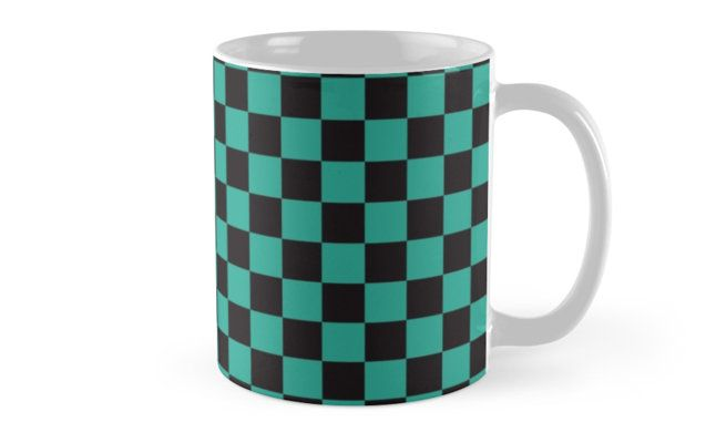 0e9f93af6 Minimalist mug. check pattern. Green and black. Checkered pattern. by  linepush