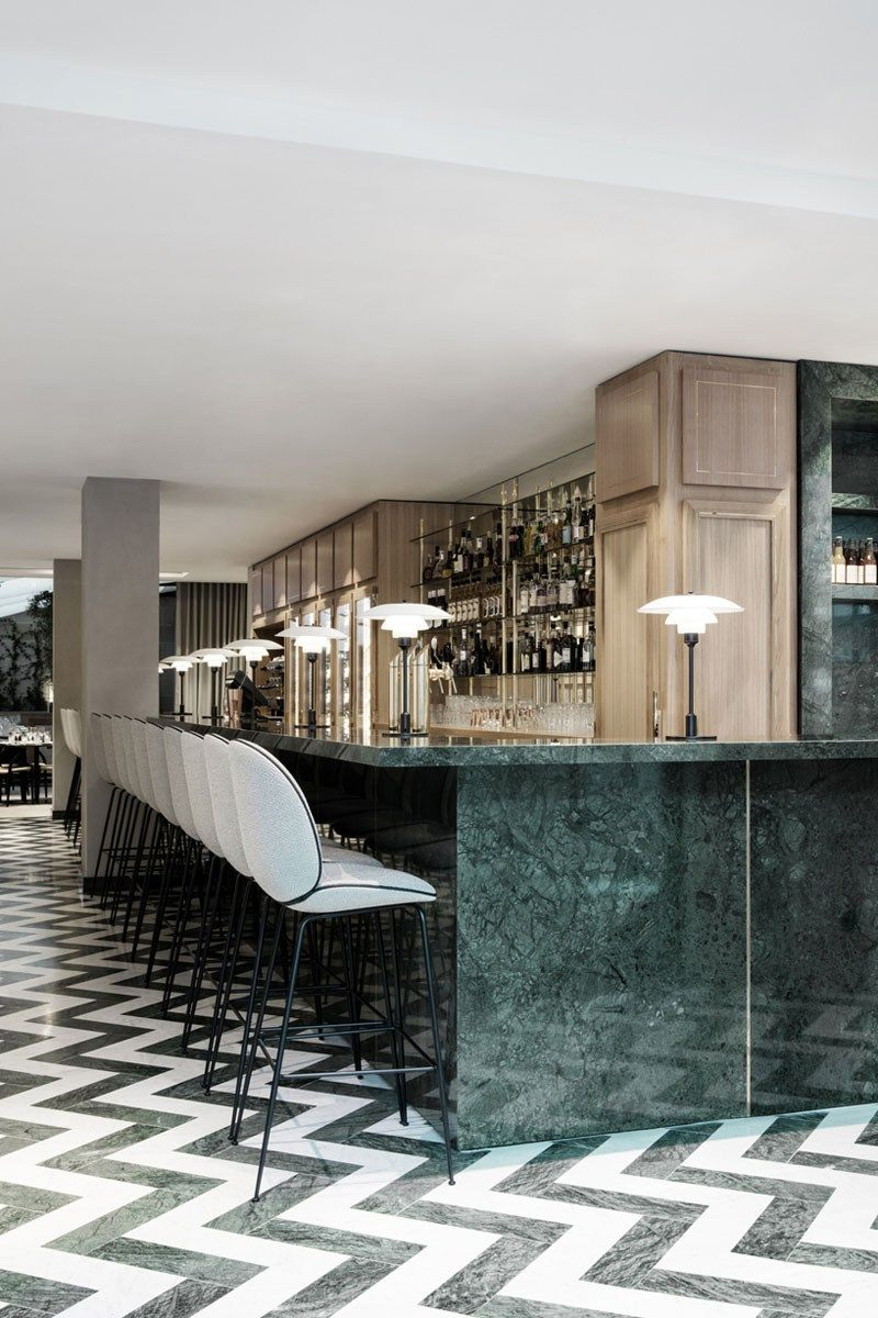 Maison Du Denmark S Restaurant Brasserie Paris Green Marble Bathroom Green Marble Marble Bar