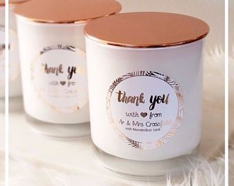 Thank You Bev Candle Wedding Gift Personalized Candles Personalised Wedding Candles