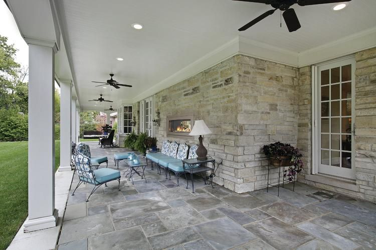Linear Gas Fireplace Exposed Outside And Inside Wonder If We Can Do This In Minnesota Indoor Outdoor Fireplaces Bluestone Patio Flagstone Patio