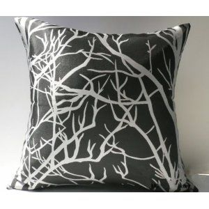 Decorative Black Sliver Grey Floral Throw Pillow Cover