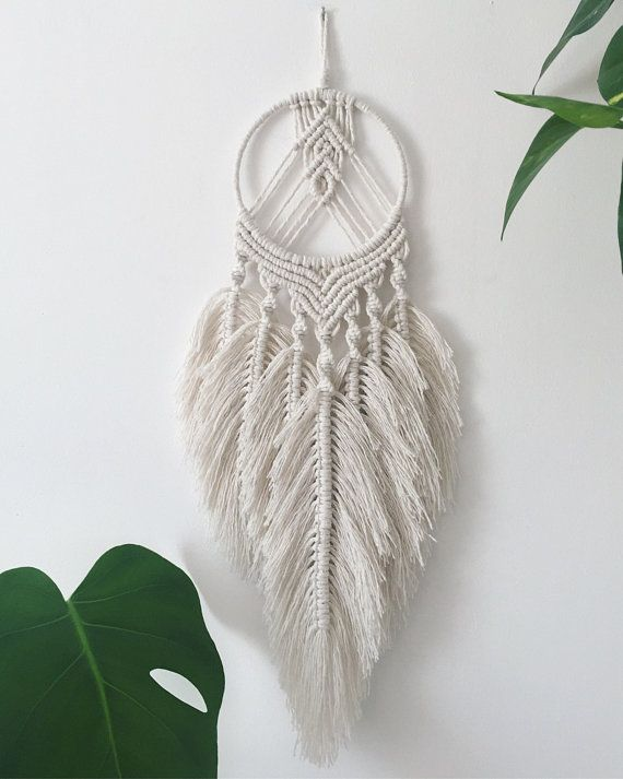 Small Feathered Macrame Dream Catcher Macrame Art