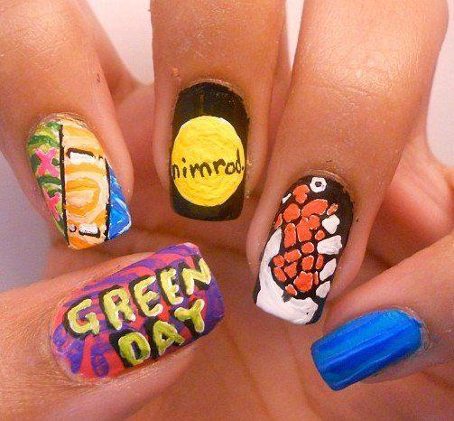 Green Day Nails - Green Day Nails Hair/Beauty Pinterest Makeup, Emo Nail Art And