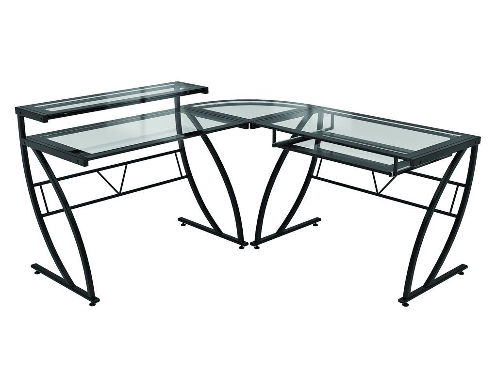 Pin By Annora On Round End Table L Shaped Glass Desk Glass Desk