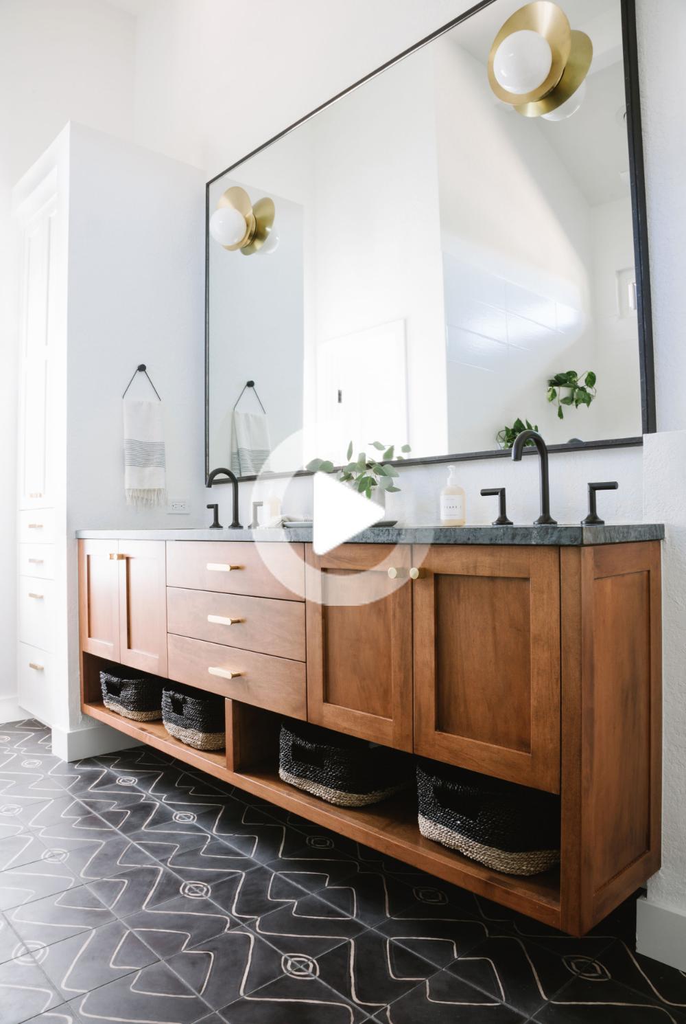 House Tour A Mid Century Modern Inspired Home Get The Look Wood Bathroom Vanity Bathroom Interior Design Bathroom Styling