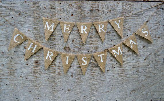 merry christmas burlap banner natural burlap with by bannersforall 2600 - Burlap Christmas Banner