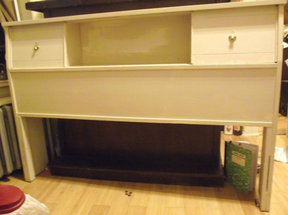 Vtg Mid Century Wood Bookcase Headboard Foot Board Sofa Table Mantle Bed Full Bookcase Headboard Headboard Wood Bookcase