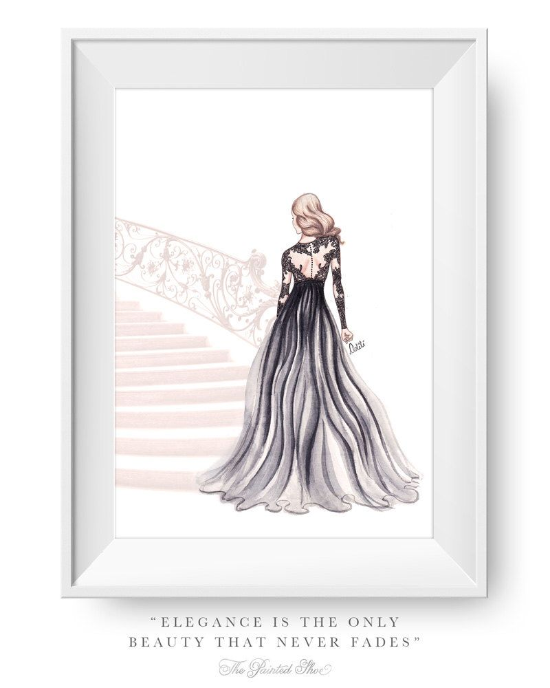 Fashion illustration print, Fashion art, girl art, watercolor - The Golden Staircase by ThePaintedShoeArt on Etsy https://www.etsy.com/listing/181217099/fashion-illustration-print-fashion-art