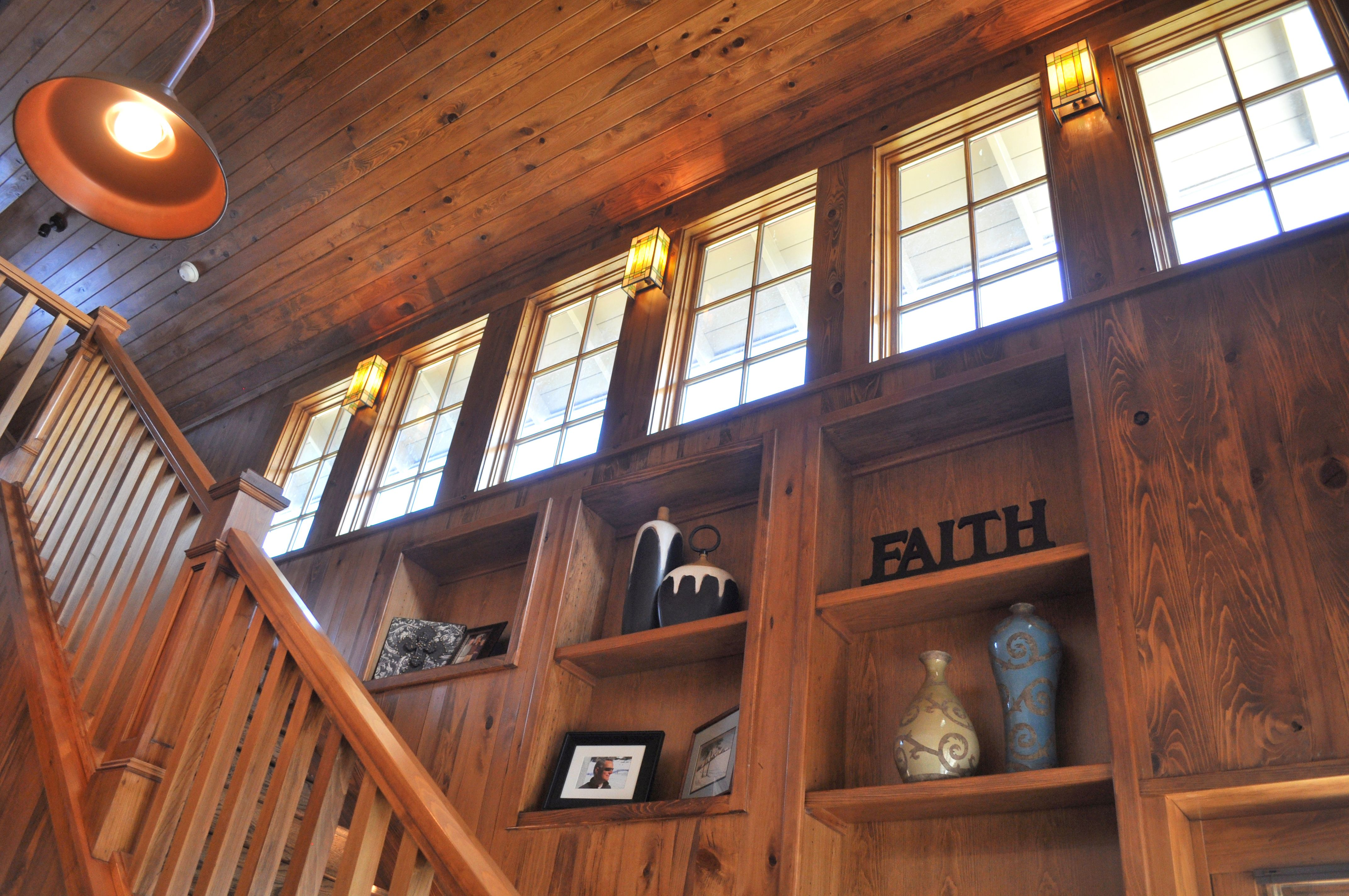 Craftsman style home with wood interior detailing and high ...