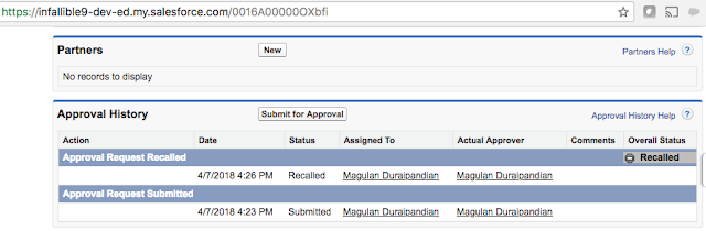 Recall Approval Process using Apex in Salesforce - Sample