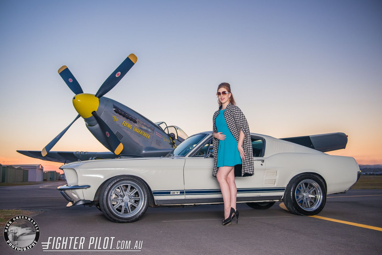 fighter pilot p 51d mustang and a fighter pilot pin up girl photography by mark greenmantle. Black Bedroom Furniture Sets. Home Design Ideas