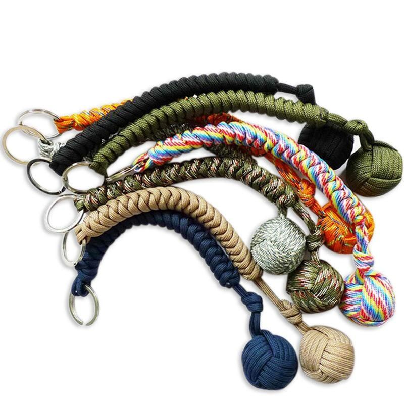 Monkey Fist Stainless Steel Paracord Keychain Keyring Survival Protection Tool