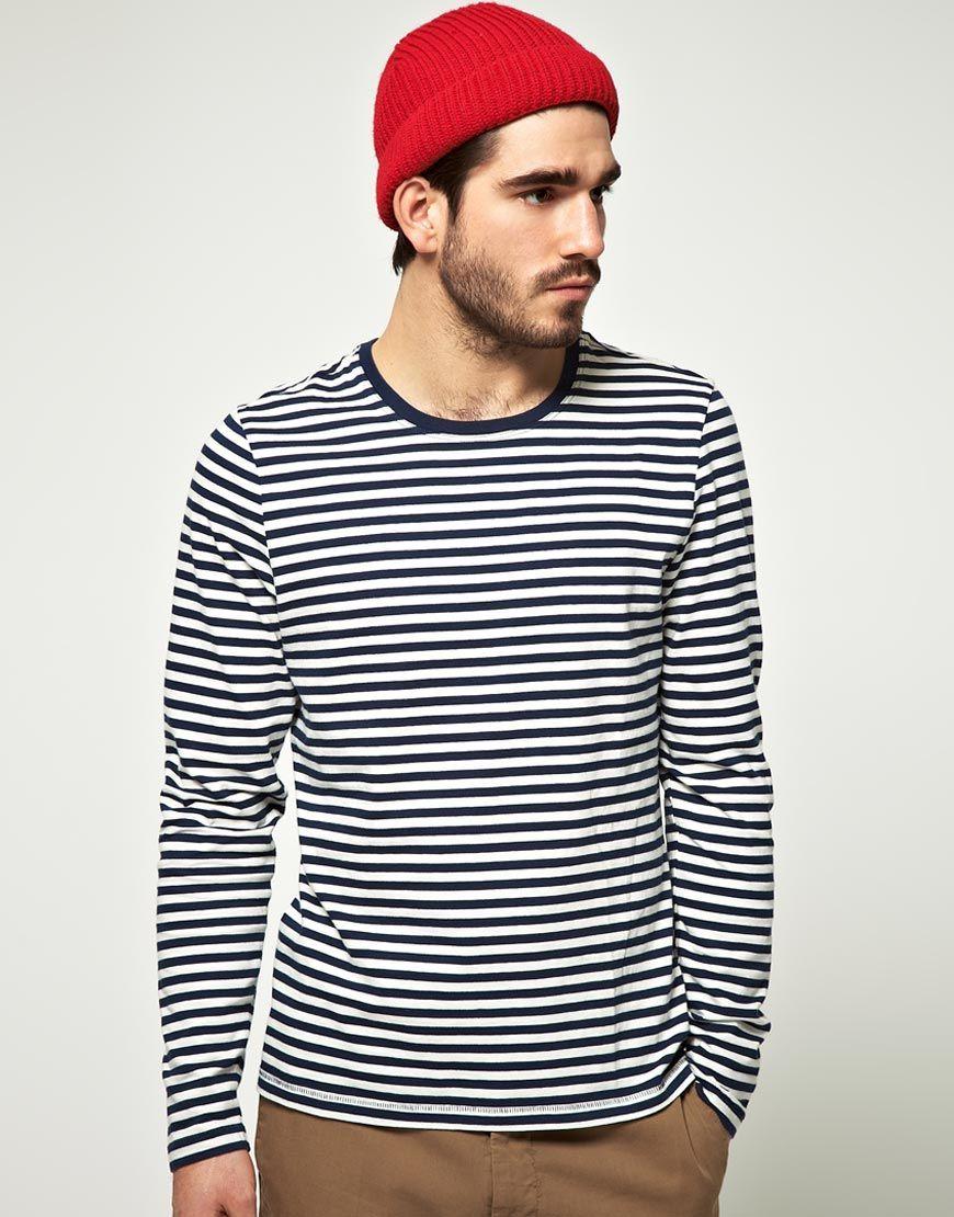 sailor dude. red beanie. strip shirt. dark camel pants  3a2421b370e