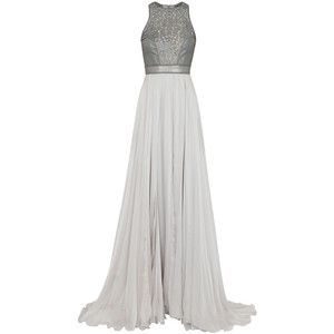 Catherine Deane Selest grey laser-cut leather and silk gown